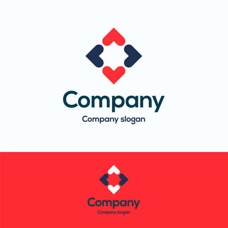 Company logo. cardinal points arrow logo template. Out logotype with flower heart