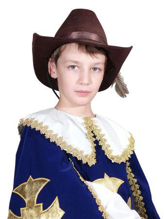 mosquetero: El muchacho en un traje de la mosquetero  Foto de archivo
