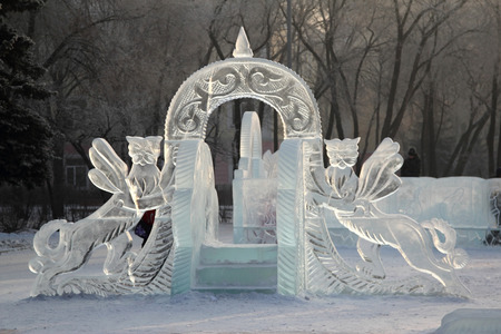 mythical: Ice slope for small children with mythical animals