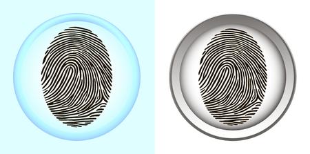 A set of smart phone fingerprint scanners. Monochrome and color fingertip sensor. Illustration
