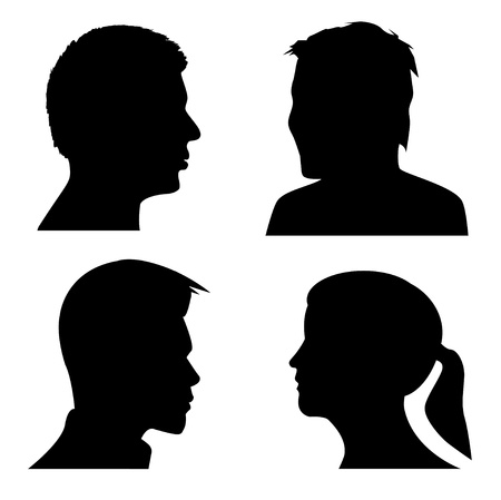 face silhouette: people silhouettes Illustration
