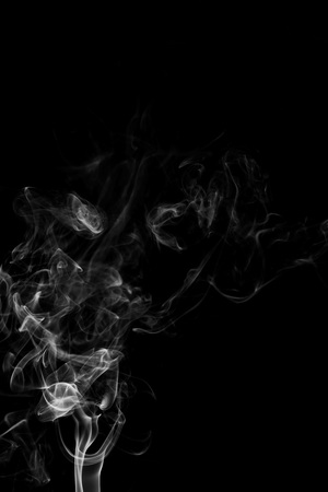 Movement of white smoke isolated on black background. Archivio Fotografico