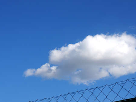 A fence grid and a blue sky with a white cloud. Concept