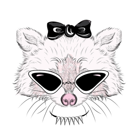 Raccoon in sunglasses and with a bow. Vector illustration for greeting card, poster, or print on clothes. Illustration