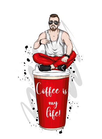 Handsome guy in stylish clothes. Hipster. Vector illustration. A large glass of coffee. Vector illustration for greeting card or poster, print on clothes. Fashion and style, clothing and accessories. Stock Illustratie