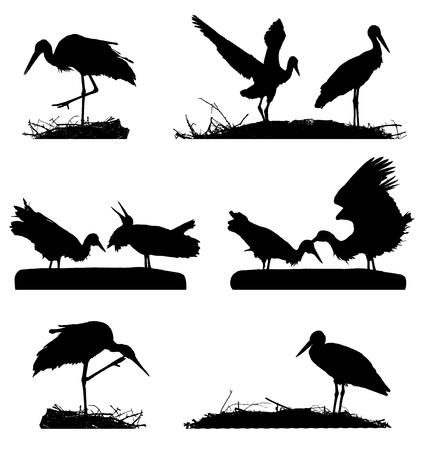 White Storks on the nest silhouette set. Stock Vector - 111537022