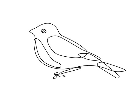 Continuous line drawing of bird.