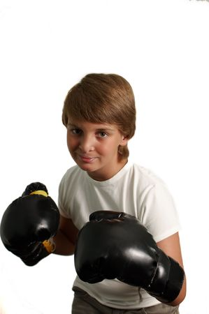 boxing boy: The boy in boxing gloves on a white background .