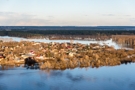 strongly: flooding after winter when the ice has melted Stock Photo
