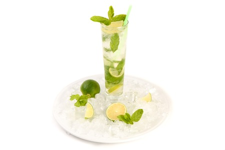 highball: Mojito cocktail with lime and mint in highball glass. Set of isolated mojitos