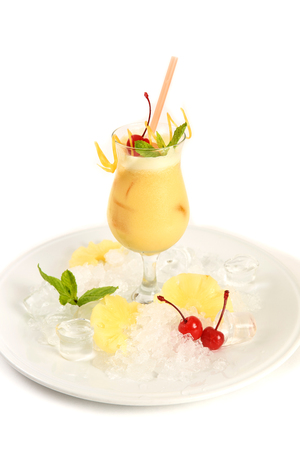 pina: Coctail Pinacolada with fresh pina juice on a white background