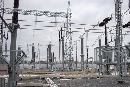 substation: High voltage power transformer in substation.