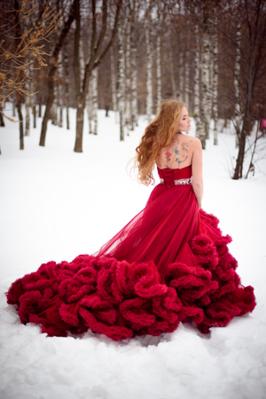 Beautiful woman in long red dress over winter background. Fairy tale girl on winter landscape.