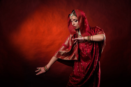 shalwar: Portrait of beautiful indian girl . Young hindu woman model kundan jewelry . Traditional costume