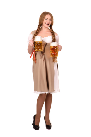 Portrait of a Happy Woman Wearing  Traditional Oktoberfest Costume with Two Beer Glasses and Holding  Sign. Isolated on White Background.