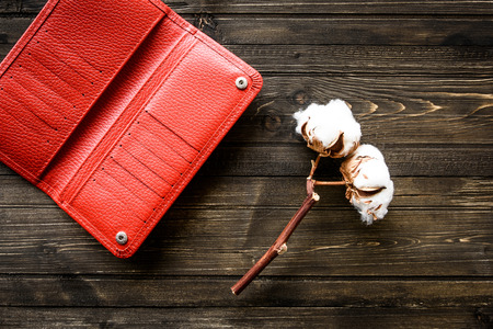 Red Wallet of Leather skin on wooden background