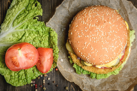 Burger with tomato and salad