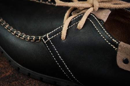 black luxury handmade man leather shoes close up Zdjęcie Seryjne