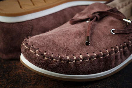 brown luxury handmade man leather shoes close up Stockfoto