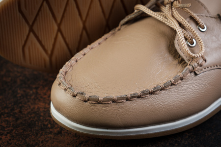 light brown luxury handmade man leather shoes close up