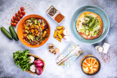 delicious healthy food salads menu concept for restaurant top view. Stock Photo