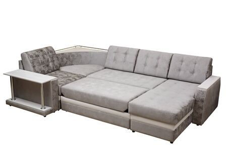 Modern multifunctional classic grey sofa with stand and cushions, isolated white background. Furniture, interior, stylish sofa