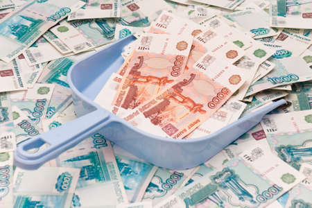 transferable: Scoop and russian roubles background Stock Photo