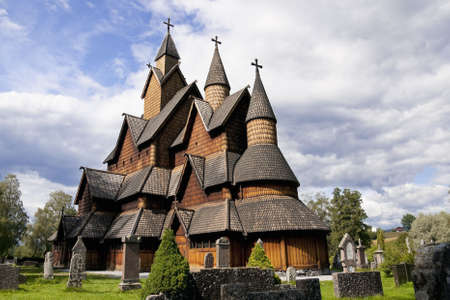 Heddal Stave Church is Norway�s biggest stave Church. It was built ca. 1250. Stock Photo
