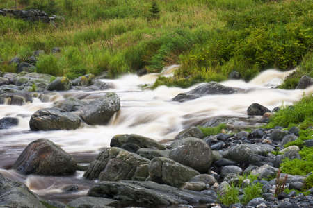 Mountain river stream, Cloudy weather, Norway, August 2009 Stock Photo