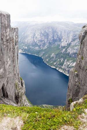 View of Lysefjord from mountain Kjerag Stock Photo