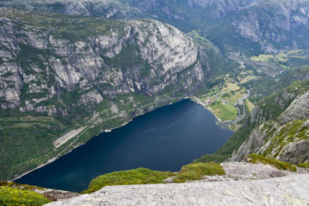Norway. View of Lysefjord and Lysebotn from mountain.