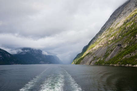 View of Lysefjord on Norway Stock Photo