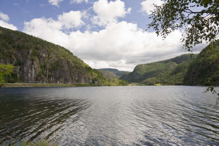 View on mountain lake in Norway. August.