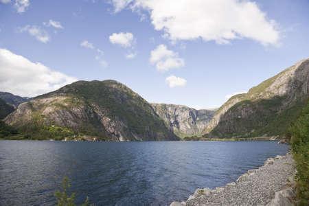 View on an Akrafjorden, near Langfoss waterfall. Region Hordaland (Hardangervidda), Norway.