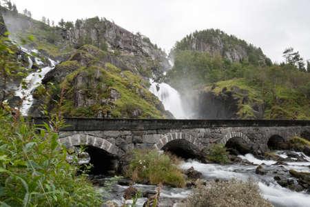 Famous twin-waterfall Latefossen. Odda, Hardanger, Norway.