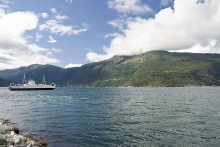 Transport Eidfjorden ferry Bruravik-Brimnes. Hardangerfjord, Osafjord, Norway
