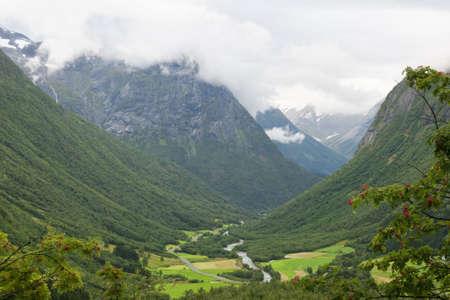 Valley view near Videseter waterfall, Norway. August.