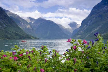 The Lodalen Valley, lake Lovatnet. Loen, Stryn, Norway.  Stock Photo