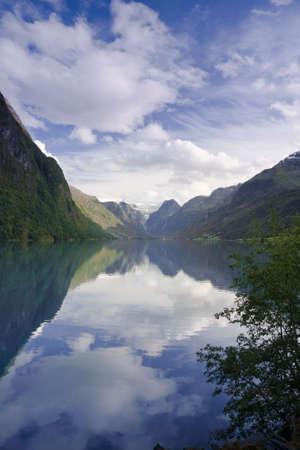 Lake Oldevatnet, Briksdal Glacier Valley, Olden, Stryn, Norway