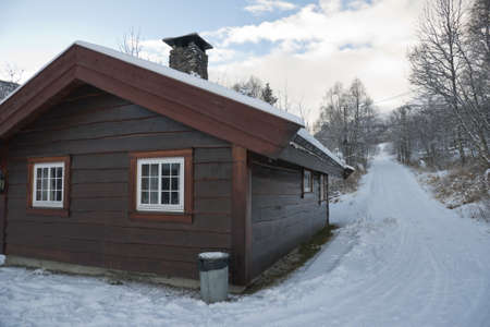 Wooden House in Hemsedal (ski resort), Norway. November
