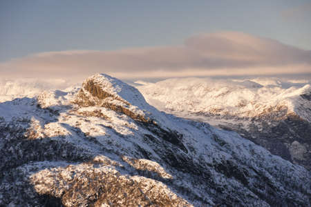 View of Mount Rogjin, Hemsedal, Norway. November.