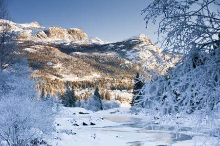Snowbound landscape mountain river. Hemsedal, Norway. November