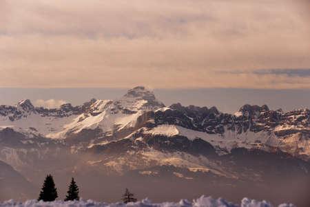 Rocky Mountains at sunset. French Alps. Chamonix. Stock Photo