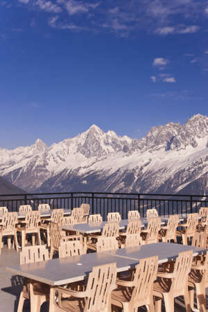 An empty restaurant on the French Alps background. Les Houches, Chamonix, France.
