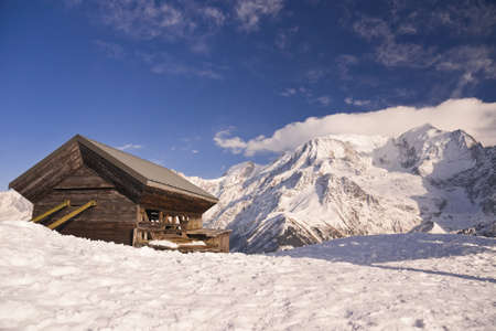 Lonely house in the mountains. French Alps. Chamonix. Les Houches.
