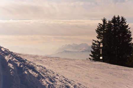 Ski Slope. Les Houches. Chamonix. Mont-Blanc. France.