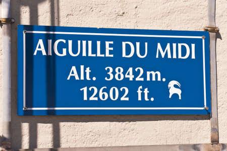Aiguille du Midi signboard. Massif Mont-Blanc, Aiguille du Midi. France. 3842 meters above sea level.