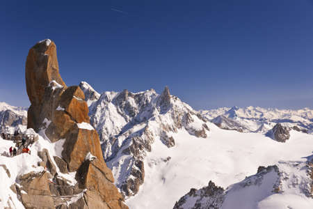 massif: Massif Mont-Blanc, Aiguille du Midi. France. 3842 meters above sea level. Stock Photo