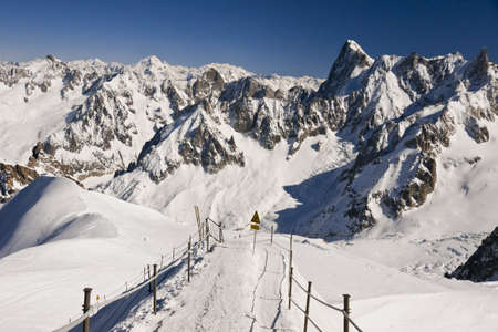 Entrance to the Vallee Blanche. Massif Mont-Blanc, Aiguille du Midi. France. 3842 meters above sea level.