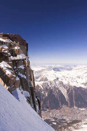 acrophobia: Massif Mont-Blanc, Aiguille du Midi. France. 3842 meters above sea level. Stock Photo
